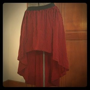 Black and red high low skirt